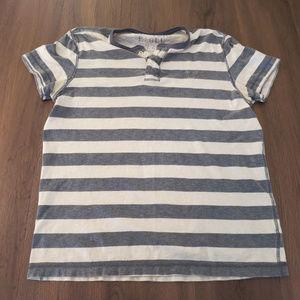 Men's AEO Grey/White Stripe Henley Men's L